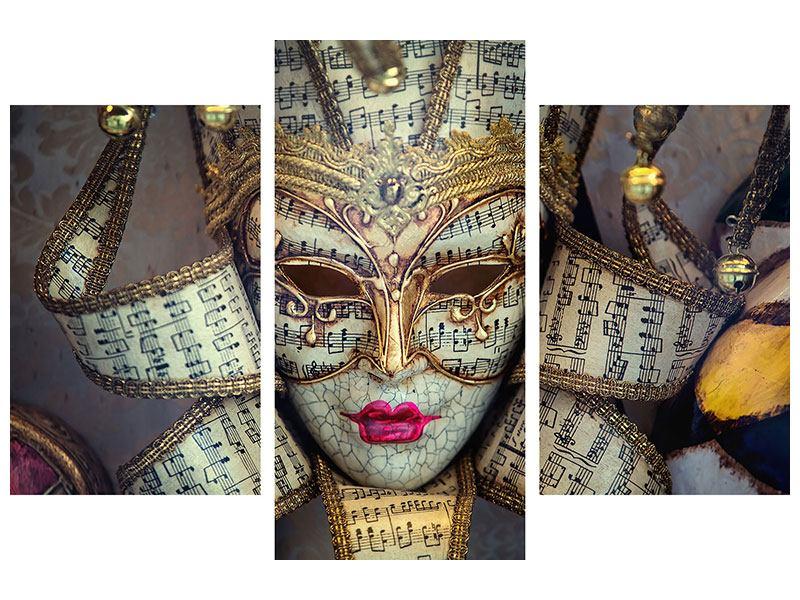Aluminiumbild 3-teilig modern Venezianische Maske