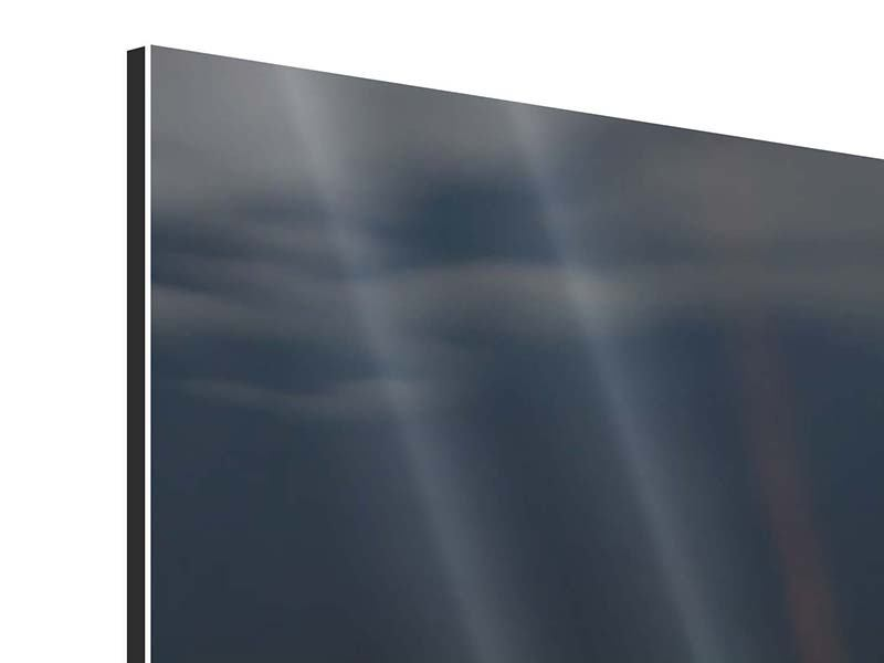 Aluminiumbild 3-teilig modern Seerose in der Abenddämmerung