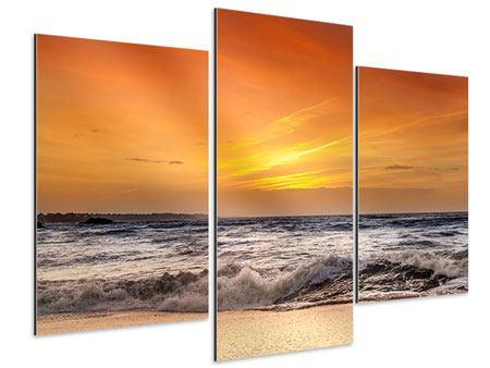 Aluminiumbild 3-teilig modern See mit Sonnenuntergang