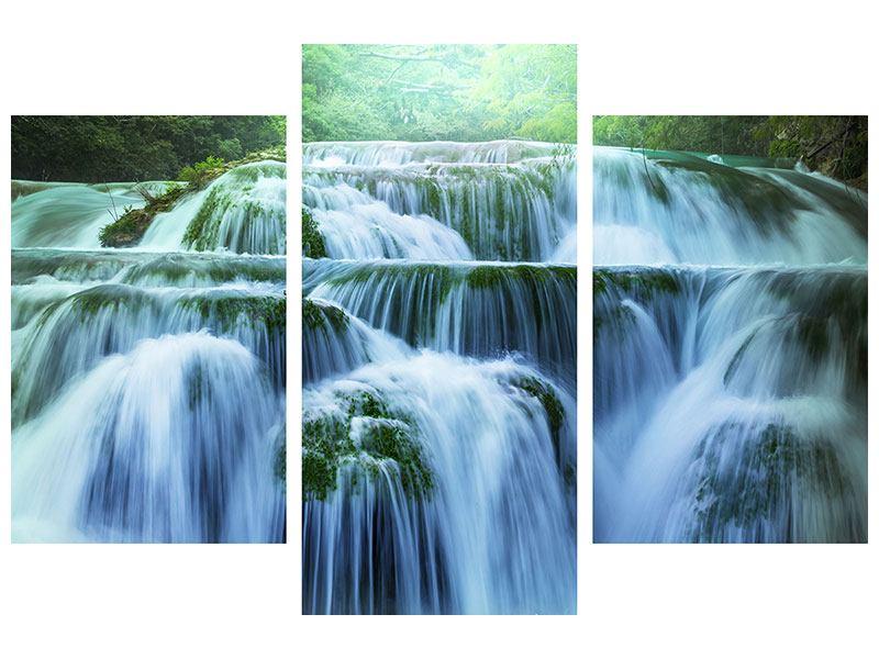 Aluminiumbild 3-teilig modern Gigantischer Wasserfall