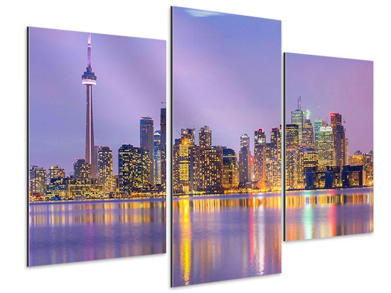 Aluminiumbild 3-teilig modern Skyline Toronto bei Nacht