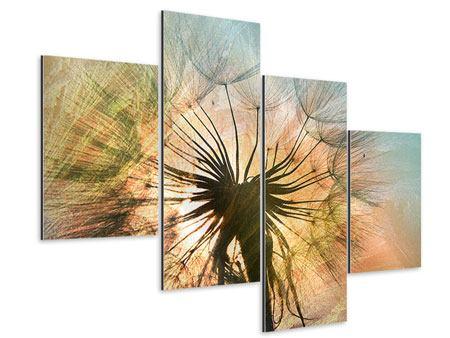 Aluminiumbild 4-teilig modern XXL Pusteblume