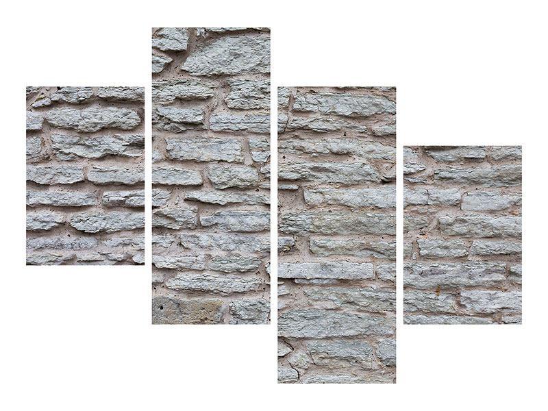 Aluminiumbild 4-teilig modern Steinmauer