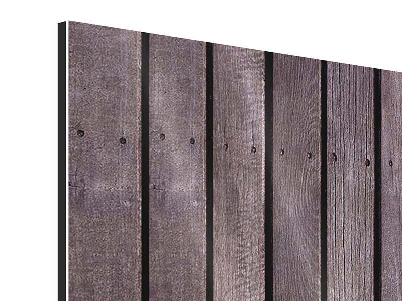 Aluminiumbild 4-teilig modern Holzwand