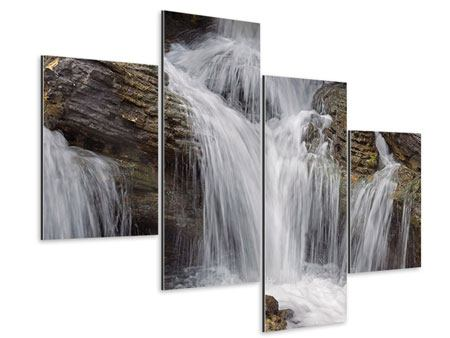 Aluminiumbild 4-teilig modern Wasserfall XXL