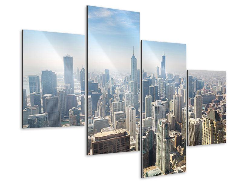 Aluminiumbild 4-teilig modern Wolkenkratzer Chicago