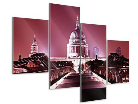 Aluminiumbild 4-teilig modern Millennium Bridge