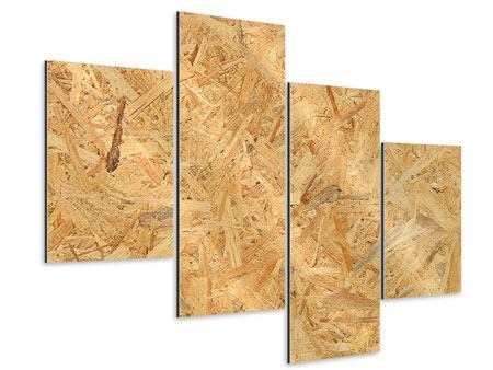Aluminiumbild 4-teilig modern Gepresstes Holz