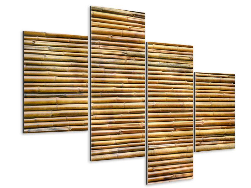 Aluminiumbild 4-teilig modern Bambus