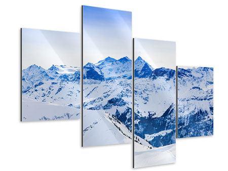 Aluminiumbild 4-teilig modern Die Schweizer Alpen