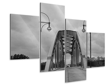 Aluminiumbild 4-teilig modern Poetische Brücke