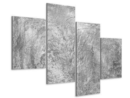 Aluminiumbild 4-teilig modern Wischtechnik in Grau