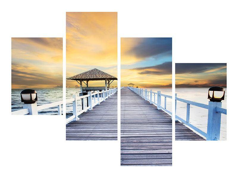 Aluminiumbild 4-teilig modern Die Brücke ins Meer