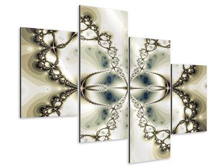Aluminiumbild 4-teilig modern Abstrakter Schmetterling