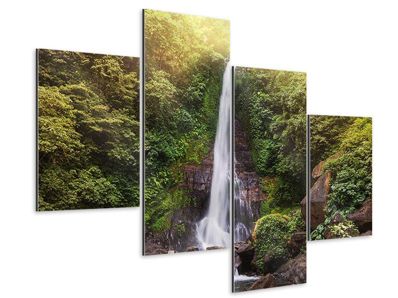 Aluminiumbild 4-teilig modern Wasserfall Bali