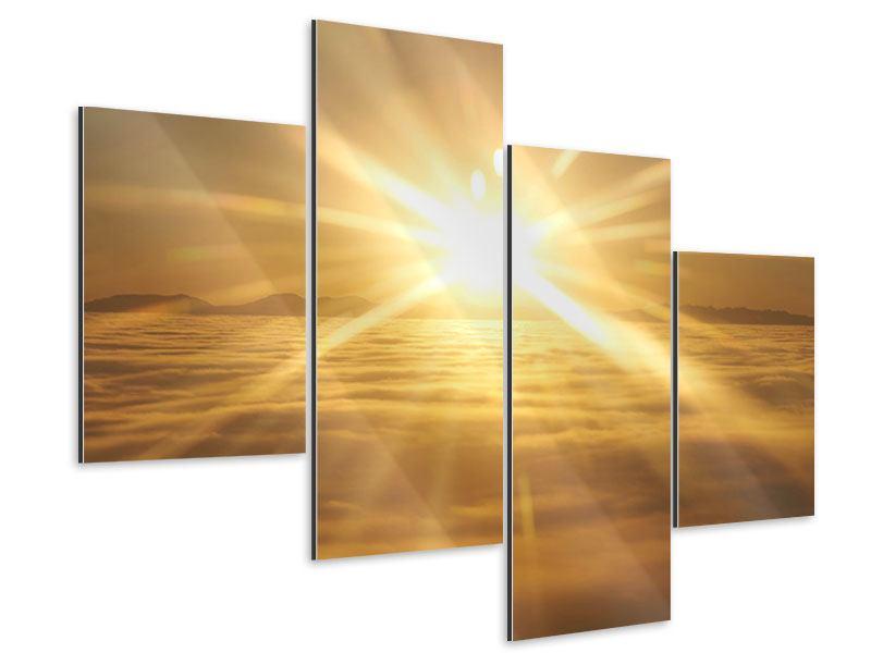 Aluminiumbild 4-teilig modern Über dem Wolkenmeer