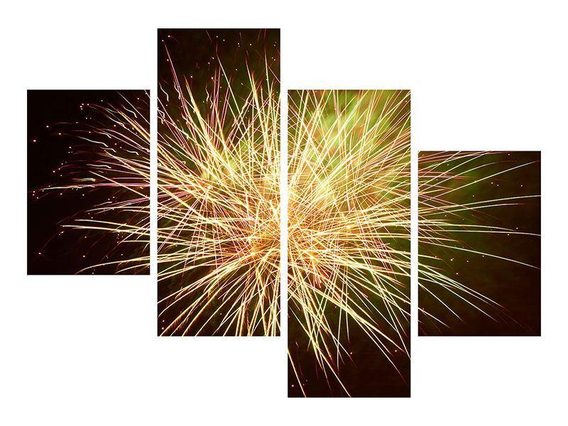 Aluminiumbild 4-teilig modern Feuerwerk XXL