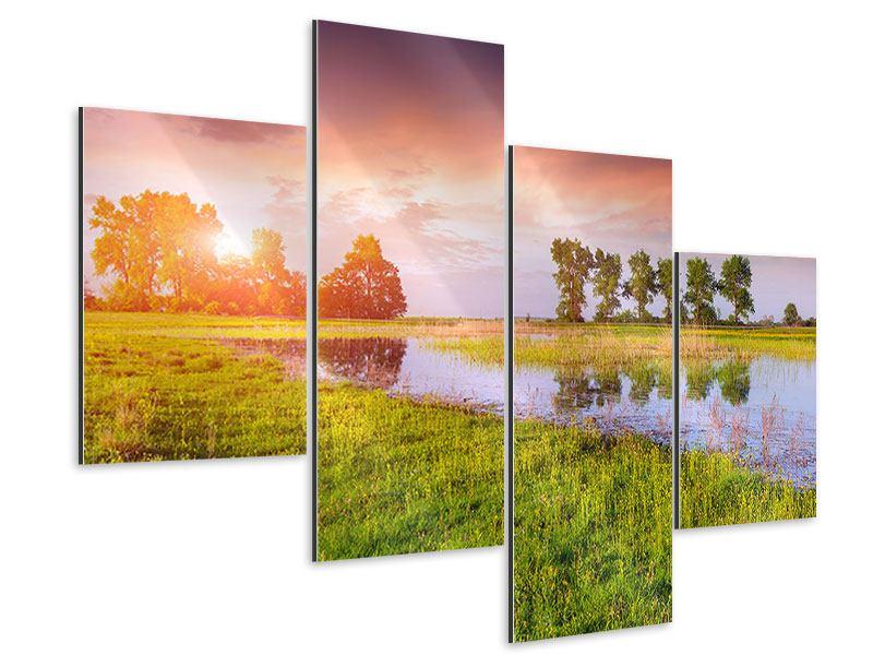 Aluminiumbild 4-teilig modern Sonnenuntergang am See