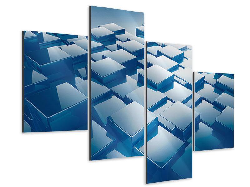 Aluminiumbild 4-teilig modern 3D-Cubes