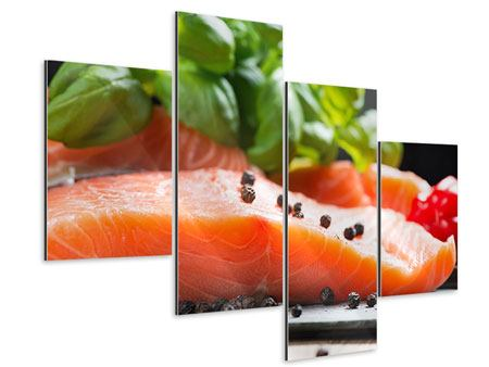 Aluminiumbild 4-teilig modern Frischer Fisch