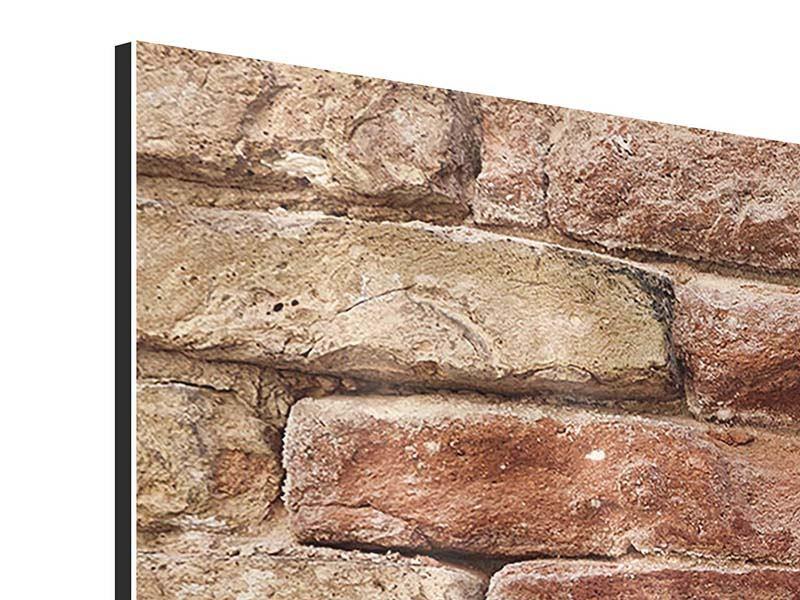 Aluminiumbild 4-teilig modern Loft-Mauer