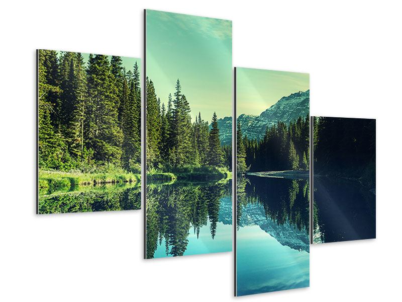 Aluminiumbild 4-teilig modern Die Musik der Stille in den Bergen