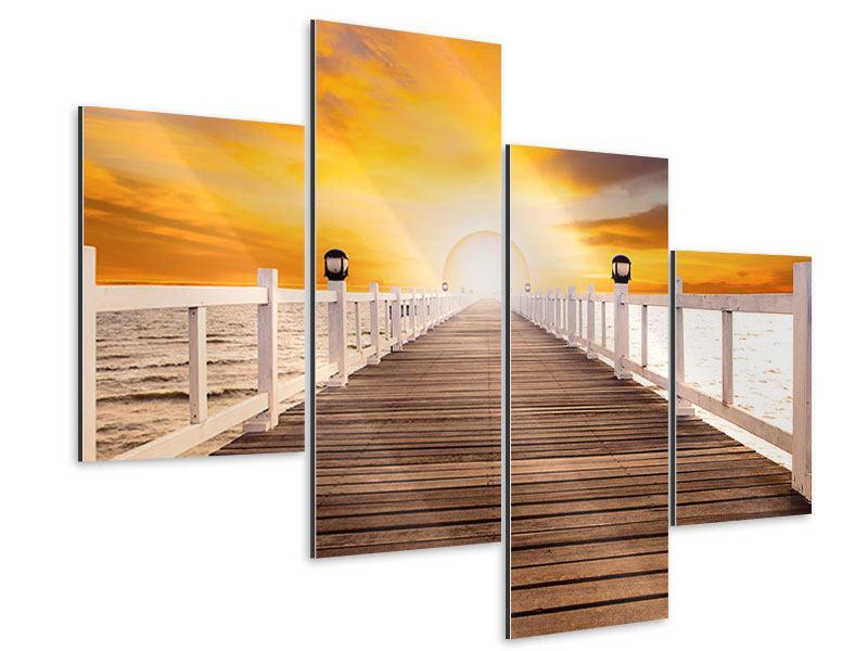 Aluminiumbild 4-teilig modern Die Brücke Ins Glück