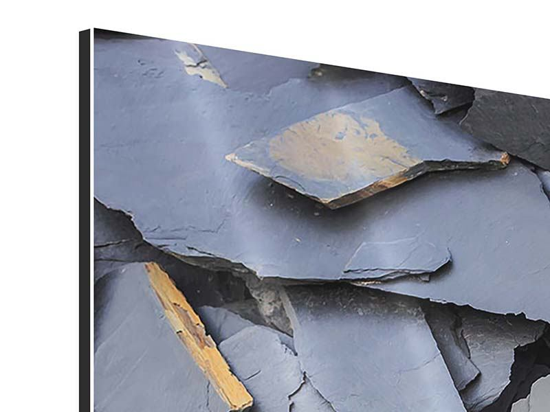 Aluminiumbild 4-teilig modern Schieferplatten