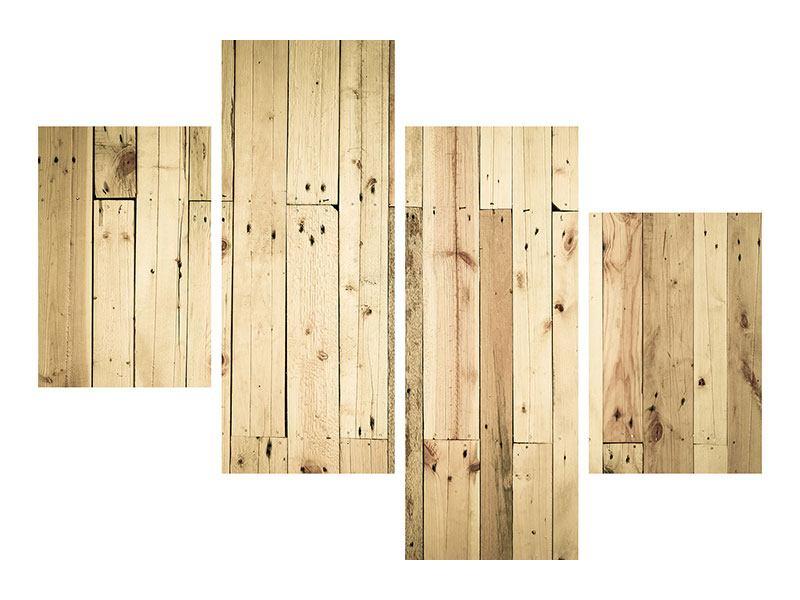 Aluminiumbild 4-teilig modern Holzpaneelen