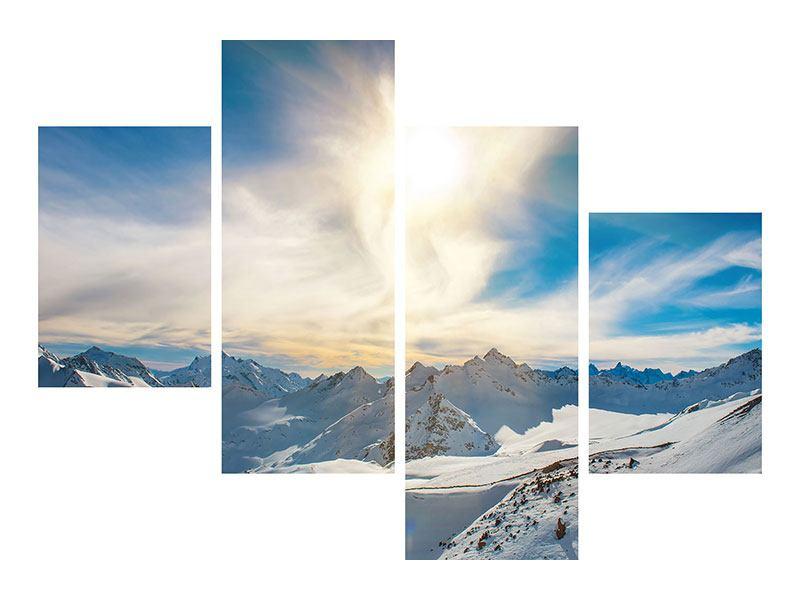 Aluminiumbild 4-teilig modern Über den verschneiten Gipfeln