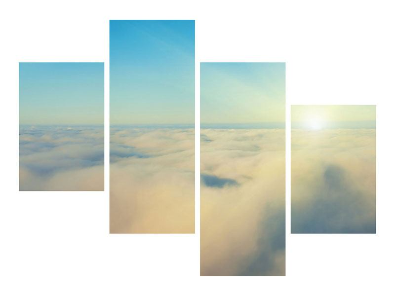 Aluminiumbild 4-teilig modern Dämmerung über den Wolken