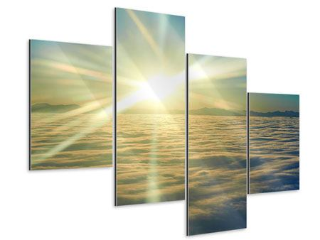 Aluminiumbild 4-teilig modern Sonnenaufgang über den Wolken