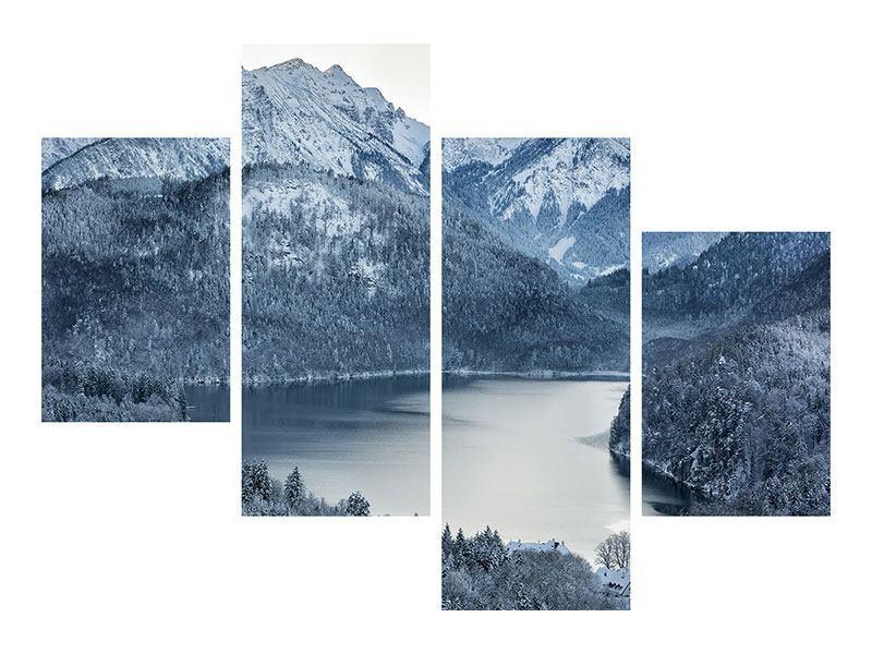 Aluminiumbild 4-teilig modern Schwarzweissfotografie Berge