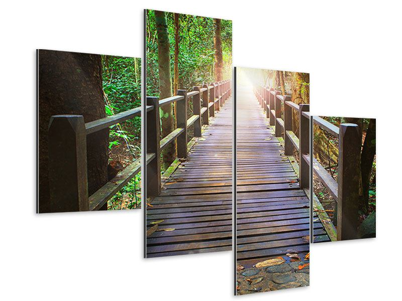 Aluminiumbild 4-teilig modern Die Brücke im Wald