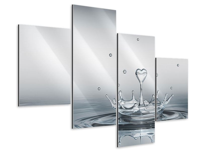 Aluminiumbild 4-teilig modern Wasserfigur