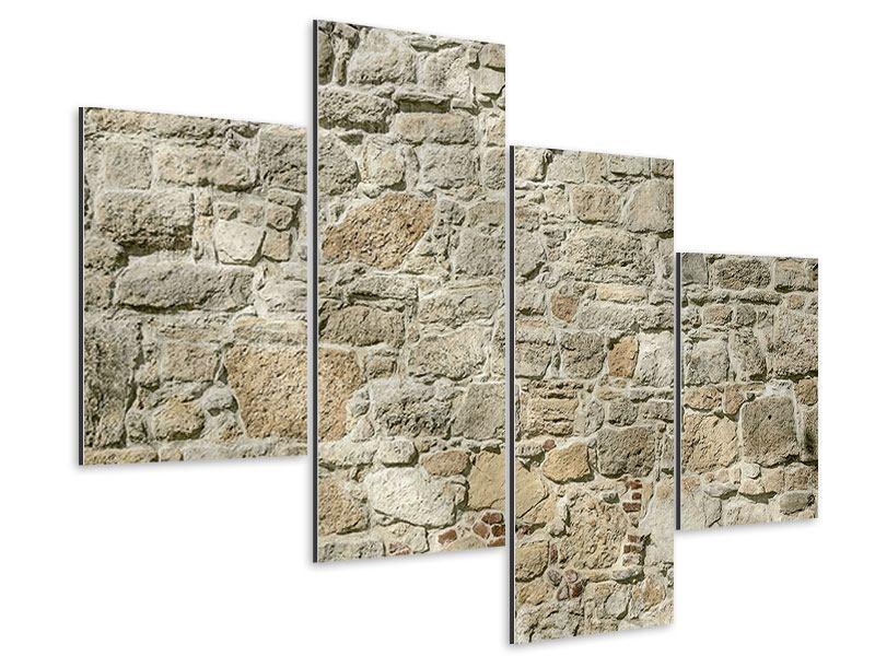 Aluminiumbild 4-teilig modern Naturmauer