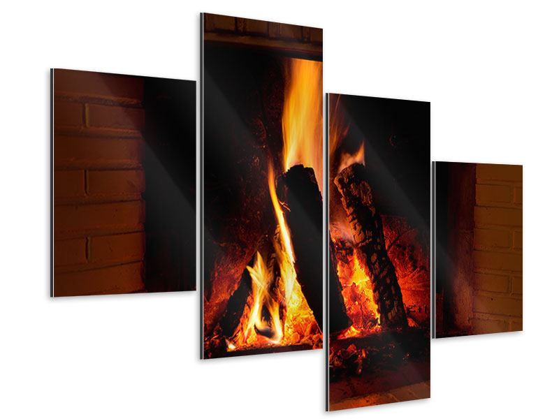 Aluminiumbild 4-teilig modern Feuer im Kamin