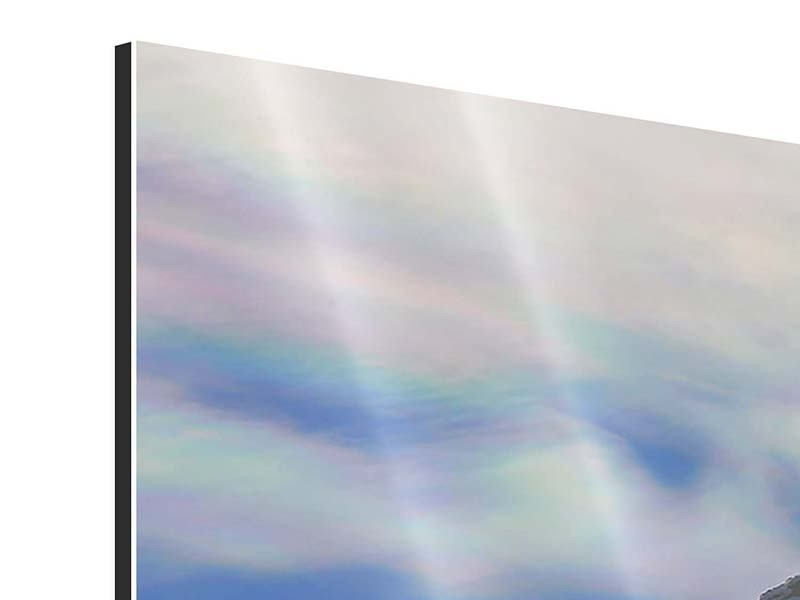 Aluminiumbild 4-teilig modern Mit Schneeverwehungen den Berg in Szene gesetzt