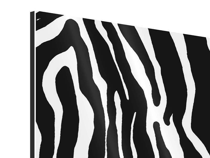 Aluminiumbild 4-teilig modern Zebramuster
