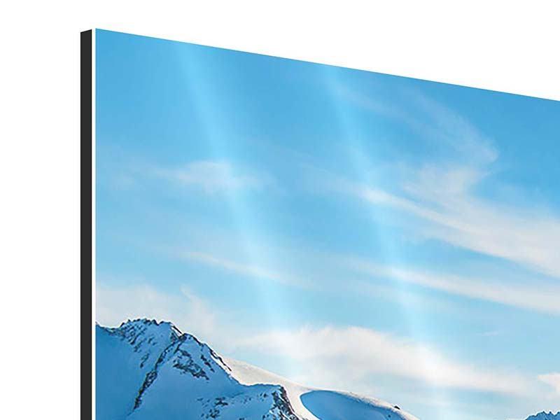 Aluminiumbild 4-teilig modern Sonnenaufgang in den Bergen