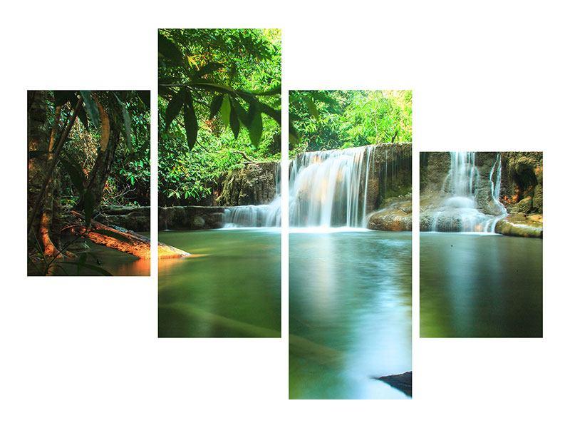 Aluminiumbild 4-teilig modern Element Wasser