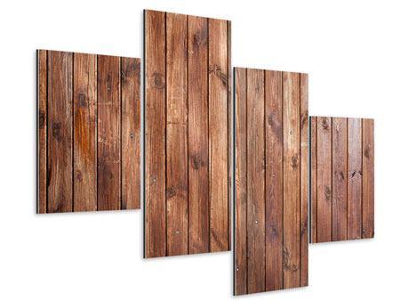 Aluminiumbild 4-teilig modern Edelholz