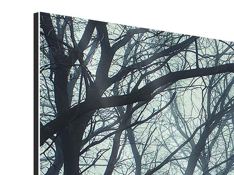 Aluminiumbild 4-teilig modern Nebelwald