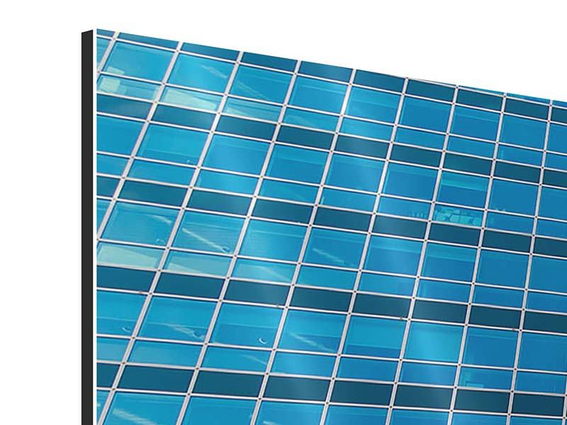 Aluminiumbild 4-teilig modern Wolkenkratzer-Spiegel