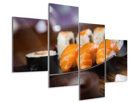 Aluminiumbild 4-teilig modern Sushi-Gericht