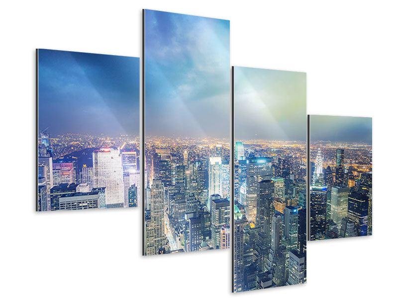 Aluminiumbild 4-teilig modern Skyline NY bei Sonnenuntergang
