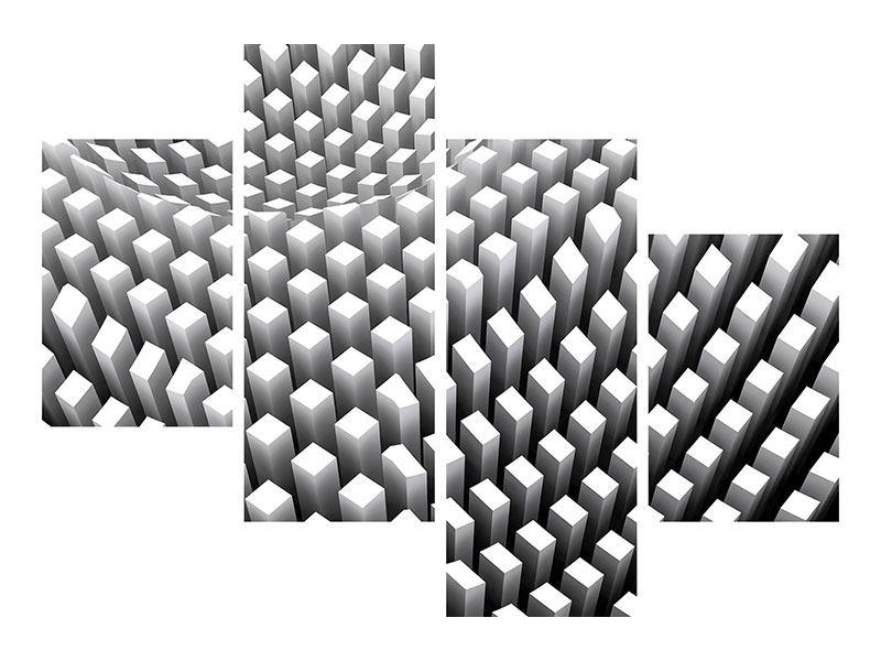 Aluminiumbild 4-teilig modern 3D-Rasterdesign