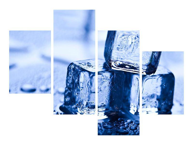 Aluminiumbild 4-teilig modern Eiswürfel