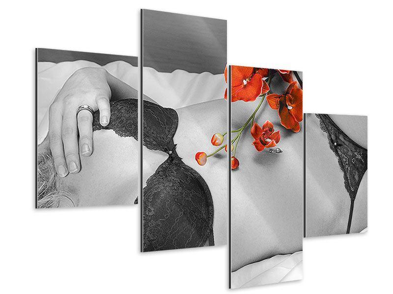 Aluminiumbild 4-teilig modern Dessous-Schönheit