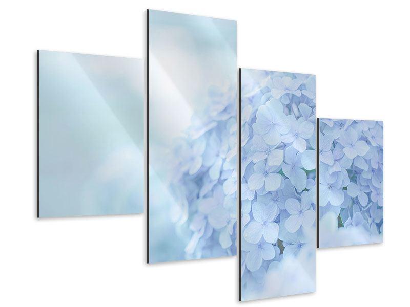 Aluminiumbild 4-teilig modern Die Hortensie